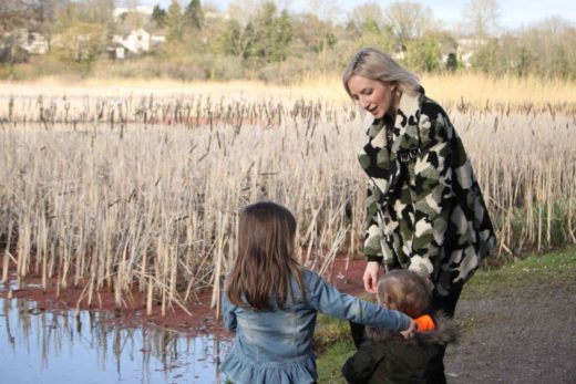 Olivia and children pictured at Westfields Wetlands